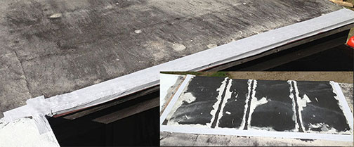 Seam Tape application on leaking flat roof