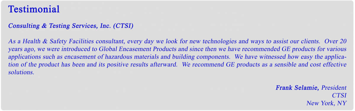 GEI coatings testimonial
