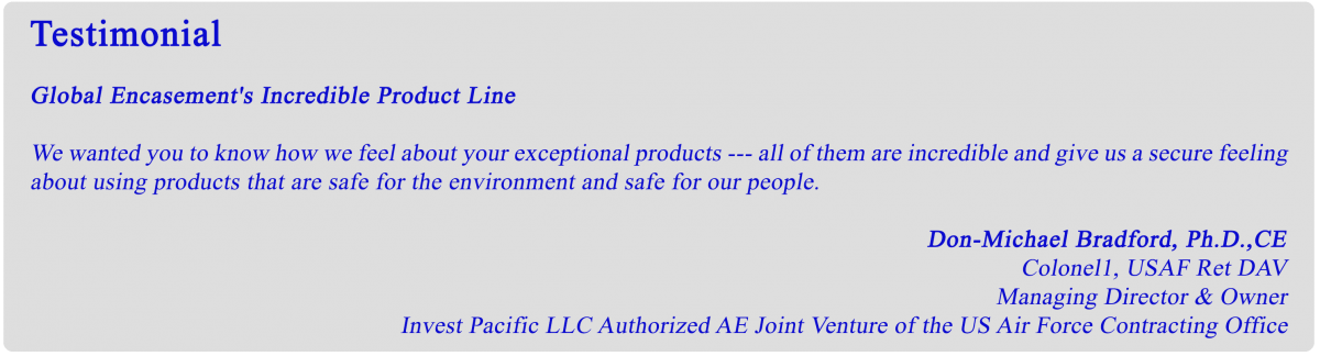 Green Encasement Coating Testimonial