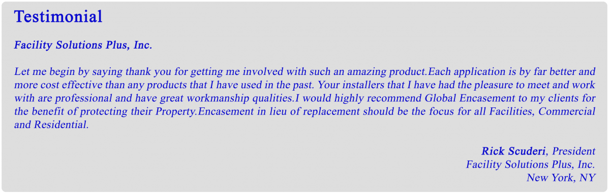 Encasement Coatings Testimonial