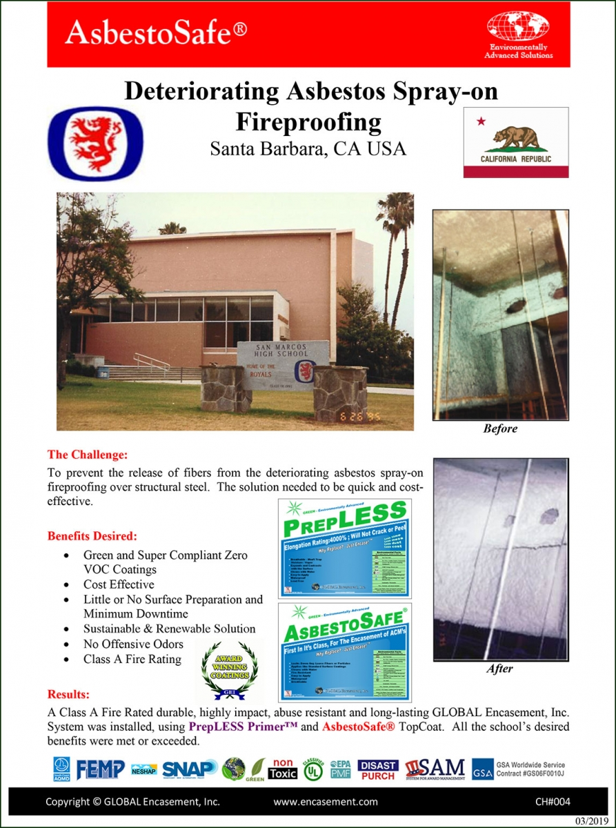 Deteriorating Asbestos Spray-on Fireproofing